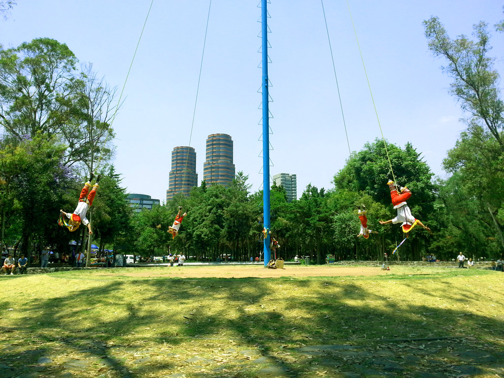 The Voladores (flyers) outside the Anthropology Museum